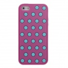 Stylish Polka Dot Pattern Protective Silicone Back Case for Iphone 5 / 5c / 5s - Deep Pink + Blue
