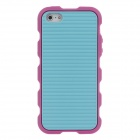 Stylish Stripe Pattern Protective Silicone Back Case for Iphone 5 / 5c - Deep Pink + Blue