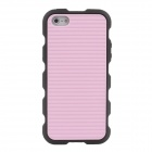 Stylish Stripe Pattern Protective Silicone Back Case for Iphone 5 / 5c - Pink + Black