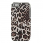 Stylish Leopard Pattern Protective Plastic + PU Leather Case for Iphone 5 / 5c / 5s - Brown + Silver