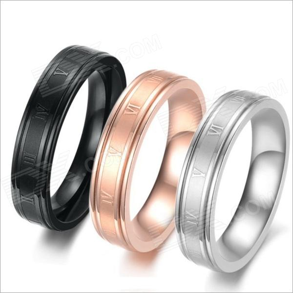 GJ282 Stylish Roman Numerals Pattern 316L Stainless Steel Rings - Black + Golden + Silver (3 PCS) molecular model kit lz 23177 chemistry organic molecule structure models set student and teacher estuches school free shipping