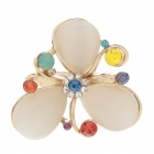 Fashionable Opals + Rhinestone Decoration Women's Ring - Golden (US Size 8.5)