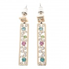 Fashionable Elegant Rhinestone Decoration Women's Earrings - Golden + Blue + Colorful  (Pairs)