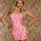 Sexy Melting Midsummer Silver-gray Floral Mini Dress - Pink (Free size)