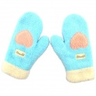 Winter Thickened Lovely Cartoon Cotton Gloves - Blue + Pink