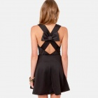 Sexy Sleeveless Round-neck Backless Cross Bowknot Cocktail Dress for Women - Black (Free Size)