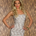 Style Sexy Melting Midsummer Silver-gray Floral Mini Dress - Silver Gray  (Free size)