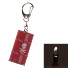 Creative Oil Tank Style Grinding Wheel Zinc Alloy Butane Gas Lighter w/ Keyring - Red
