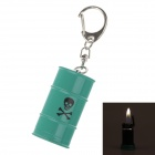 Creative Oil Tank Style Grinding Wheel Zinc Alloy Butane Gas Lighter w/ Keyring - Green