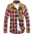 New Men's Plaid Shirt Casual Shirt - Red (L)