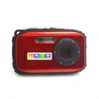"DC-B168 Mini Sports 2.7"" TFT 5.0 MP CMOS Water Resistant Camera Camcorder - Red + Black"