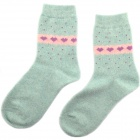 Autumn Winter Thick Warm Rabbit Fur Wool Socks - Blue + Pink