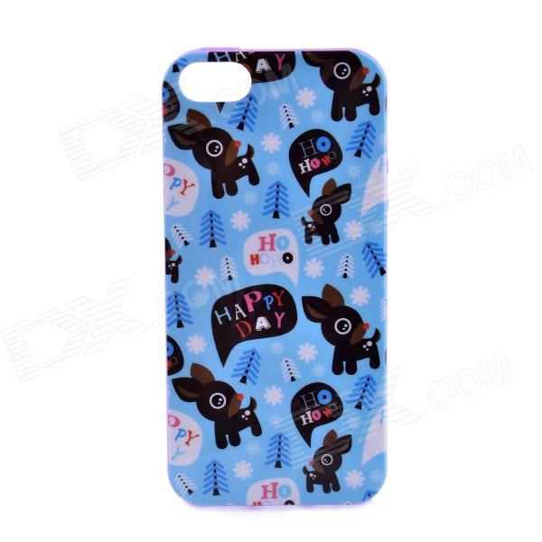 LOFTER Winter Sonata Deer Family Style Protective Back Case for Iphone 5S - Blue + Purple + Black sonata style собачка gt9041 на р у ходит лает виляет хвостом на батарейках tm sonata style
