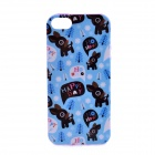LOFTER Winter Sonata Deer Family Style Protective Back Case for Iphone 5S - Blue + Purple + Black