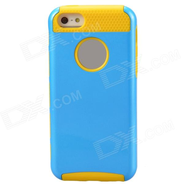 Fashion Contrast Color PC + TPU Protective Back Case for Iphone 5 / 5s / 5c - Blue + Yellow