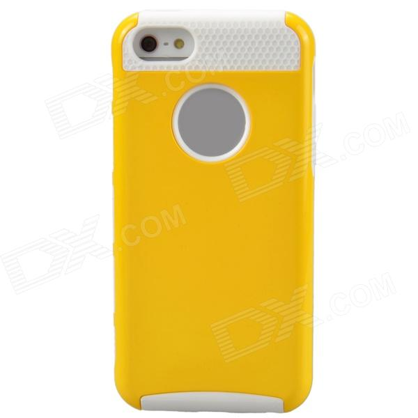 Fashion Contrast Color PC + TPU Protective Back Case for Iphone 5 / 5s / 5c - Yellow + White holes pattern protective tpu back case for iphone 6 plus 5 5 yellow