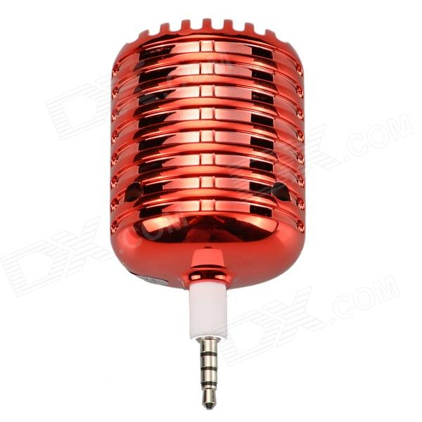 Microphone Style Portable 3.5mm Speaker for Iphone / Samsung / HTC / Motorola / Nokia - Red