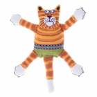 Cute Orange + Yellow Stripe Cat Style Pet Toy w/ Sound Effect - Multicolored