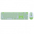 CHEERLINK HK3960 2.4GHz 104-Key Wireless Keyboard + Optical Mouse Combo Kit - Green + White