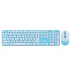 CHEERLINK HK3960 2.4GHz 104-Key Wireless Keyboard + Optical Mouse Combo Kit - White + Blue