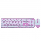 CHEERLINK HK3960 2.4GHz 104-Key Wireless Keyboard + Optical Mouse Combo Kit - Weiß + Pink