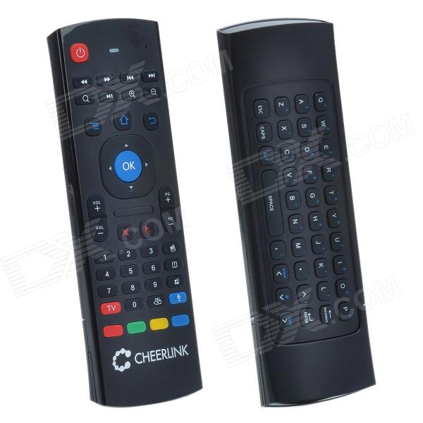 CHEERLINK MX3 2.4G Double keyboard Wireless Air Mouse w/ Remote Control - Black cheerlink mx3 2 4g double keyboard wireless air mouse w remote control black