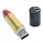 Fashion Lipstick Style USB Flash Drive - Gold + Red (8GB)