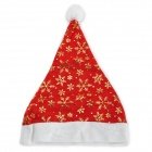 Fashion Snowflake Pattern Woolen + Mesh Fabric Christmas Decorative Hat - Red