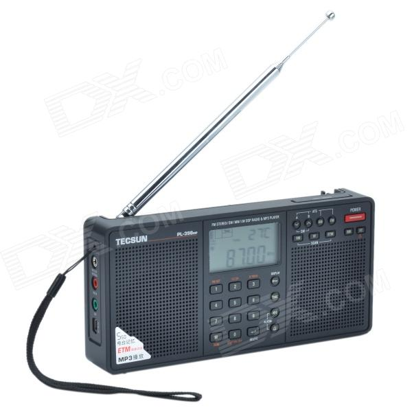 Tecsun PL-398MP 2.2'' Full Band Digital Tuning Stereo Radio Receiver w/ Stand and MP3 Player - Black full band portable radio degen de29 fm am digital tuning clock beautiful sound rechargeable mp3 player radio dot matrix screen