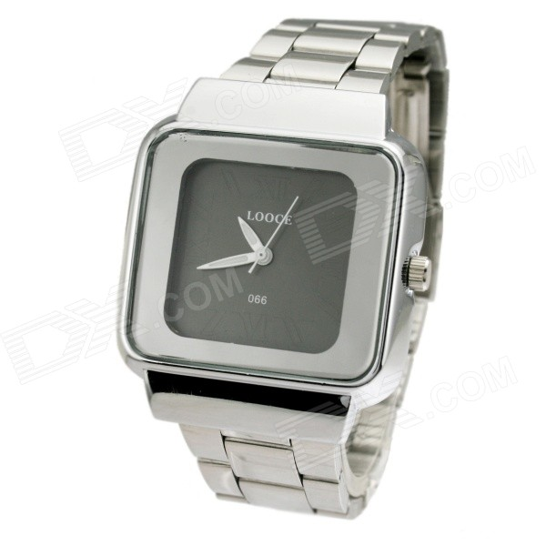 купить LOCCE 066 Square Roman Numerals Dial Men Quartz Watch  -Silver + Black (1 x SR626SW) по цене 408.03 рублей