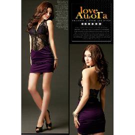 SEX-013 Sexy Milk Silk Hollow Lace Slim Backless Halter Dress - Purple (Free Size)