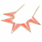 Fashion Women's Sweater Necklace - Pink + Golden
