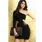 Sexy Tide Of Inclined Shoulder Dress - Black (Free Size)