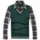 Men's Shirt Collar Sweater - Green (XL)