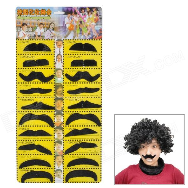 Synthetic Fiber Make-up Decorative Moustache Set - Black