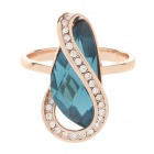 Fashion Rhinestone Decoration Zine Alloy Women's Rings - Golden + Blue