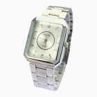 LOOCE 303 Men's Rectangular Laser Lattice Steel Band Quartz Watch - Silver (1 x SR626SW)
