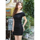 HHSX-5327 Sexy Milk Silk Dress for Women - Black