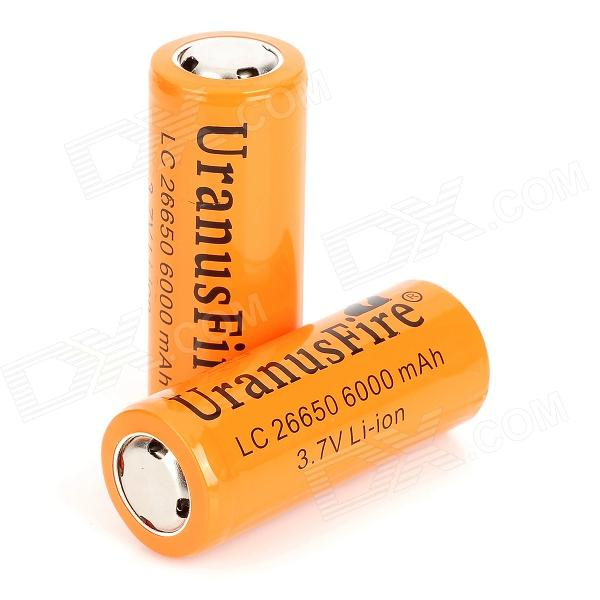 UranusFire Rechargeable 3.7V 6000mAh Li-ion 26650 Batteries - Orange (2 PCS)