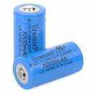 "UranusFire 16340 ""1000mAh"" 3.7V Li-ion Batteries w/ Case - Deep Blue (2 PCS)"