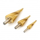 4~12mm / 4~20mm / 4~32mm HSS Steel Step Drill Bits Set - Golden (3 PCS)