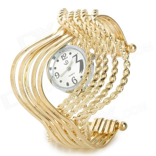 Wavy Style Fashion Stainless Steel Quartz Analog Bracelet Wrist Watch for Women - Golden (1 x 377) stylish bracelet band quartz wrist watch golden silver 1 x 377