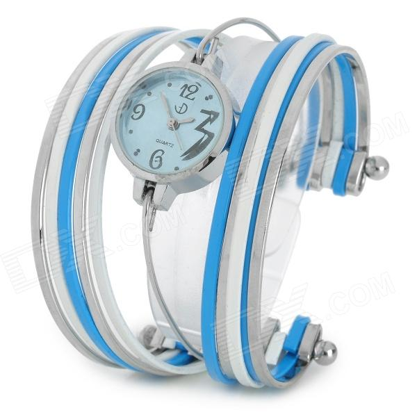 Fashion Stainless Steel Quartz Analog Bracelet Wrist Watch for Women - Blue + Silver + White fashion stainless steel quartz analog wrist watch for women silver blue 1 x lr626