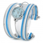 Fashion Stainless Steel Quartz Analog Bracelet Wrist Watch for Women - Blue + Silver + White