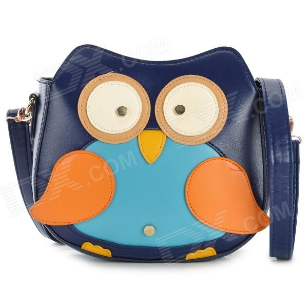 Owl Pattern Fashion Square Shaped PU Messenger / Shoulder Bag for Women - Deep Blue