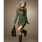 MY-05 Fashion Wool V-Neck Long Slim Sweater for Women - Green (Free Size)