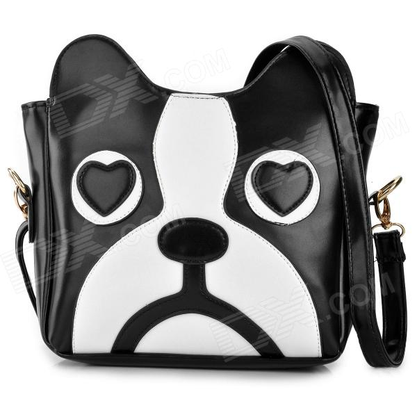 Fashion Dog Pattern PU Shoulder Bag for Women - Black + White