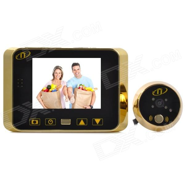 ZnDiy-BRY 818 Aluminium Alloy 3.5 LCD Wireless Smart Viewer + Peephole Doorbell Set - Golden 7 inch video doorbell tft lcd hd screen wired video doorphone for villa one monitor with one metal outdoor unit night vision