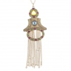 Fashion and Elegant Women's Sweater Necklace - Golden + Blue + Colorful