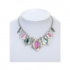Euramerican Exaggerated Punk Style Geometry Vintage Necklace - Silver + Pink